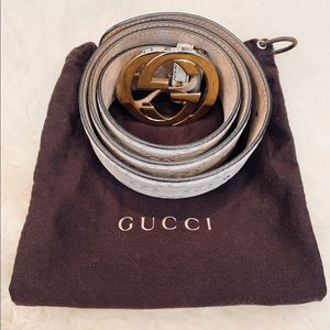 Gucci belt white leather